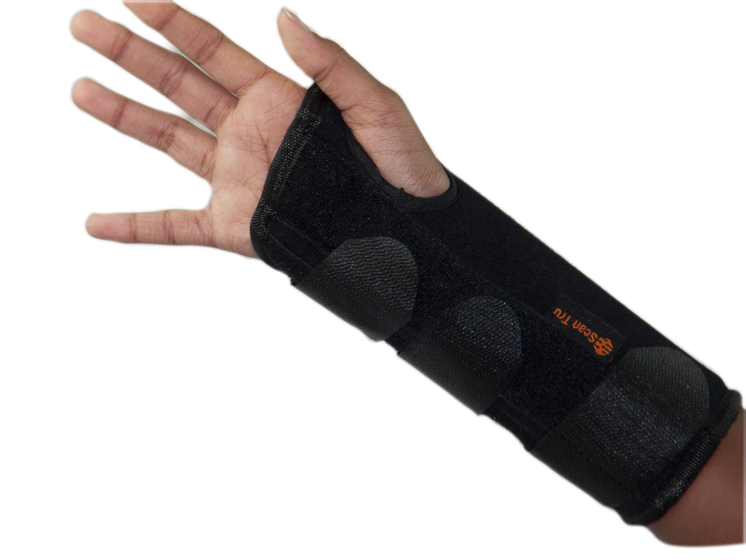 Scan Tru Carpal Tunnel Adjustable Wrist Brace Long, Short, Right Or Left for Women Men Day Or Nighttime – Breathable, with Metal Splints, Flexible Washable S – L (Long Small R)