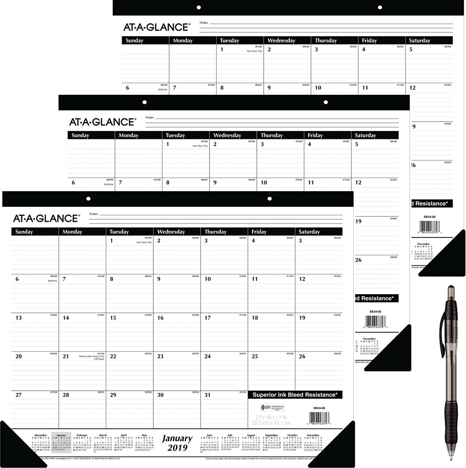 "at-A-Glance Monthly Desk Pad Calendar, Ruled Blocks, January 2019 - December 2019, 22"" x 17"" (SK2400) 3 Pack - Bundle Includes Black Ballpoint Pen"