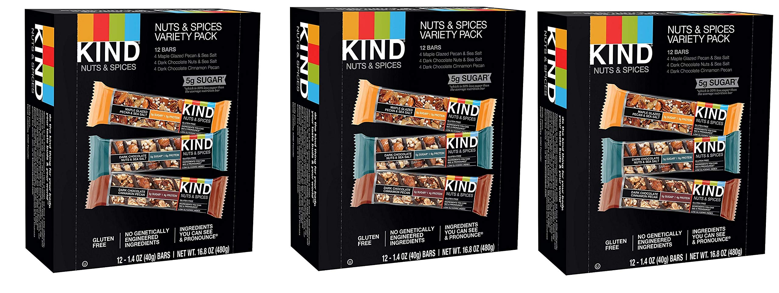 KIND Bars, Nuts and Spices Variety Pack, Gluten Free, 1.4oz (36 Bars) by  (Image #1)