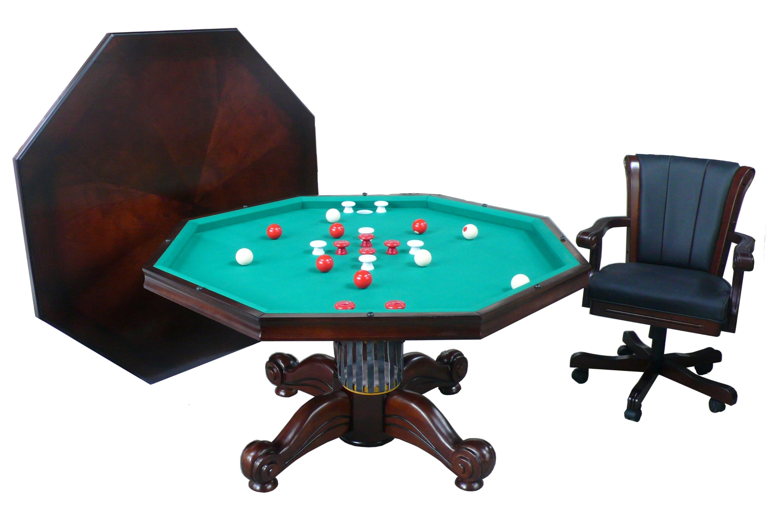 3 in 1 Game Table - Octagon 54'' Bumper Pool, Poker & Dining with 4 Chairs in Dark Walnut By Berner Billiards
