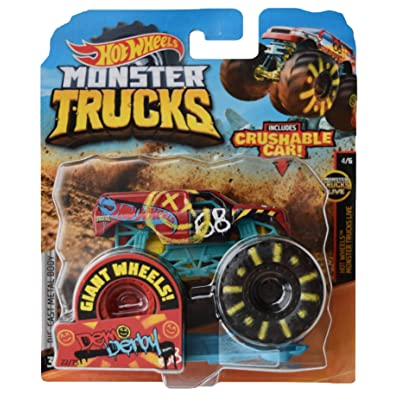 Hot Wheels Monster Trucks 1:64 Scale die cast Demo Derby 22/75 Crushable Car: Toys & Games