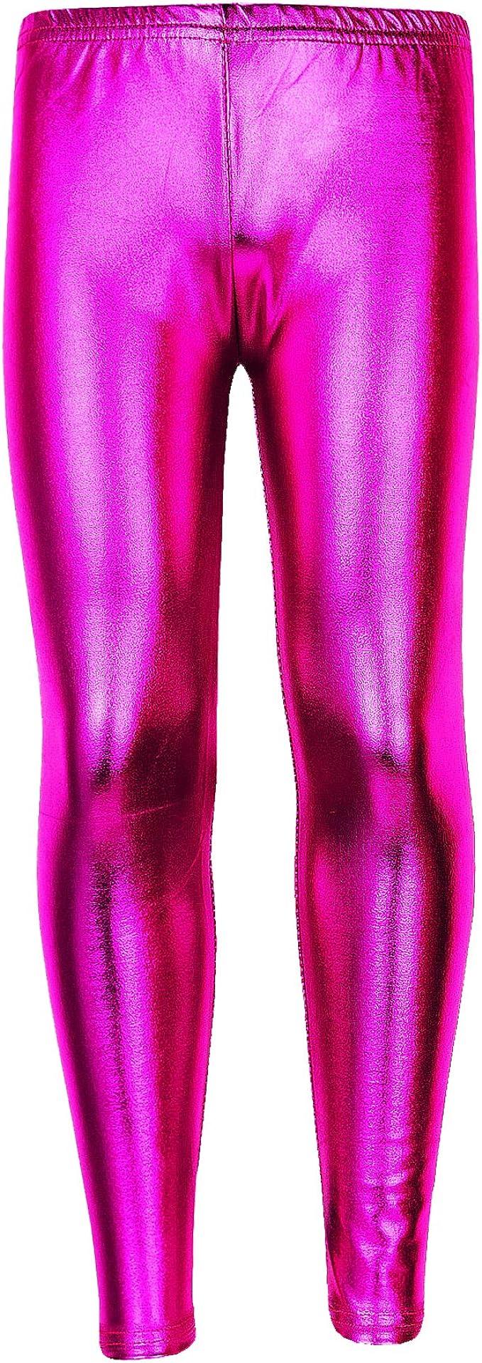 KDL Kids Girls Shiny Nylon Footless Disco Leggings for Ballet Gymnastics Dance