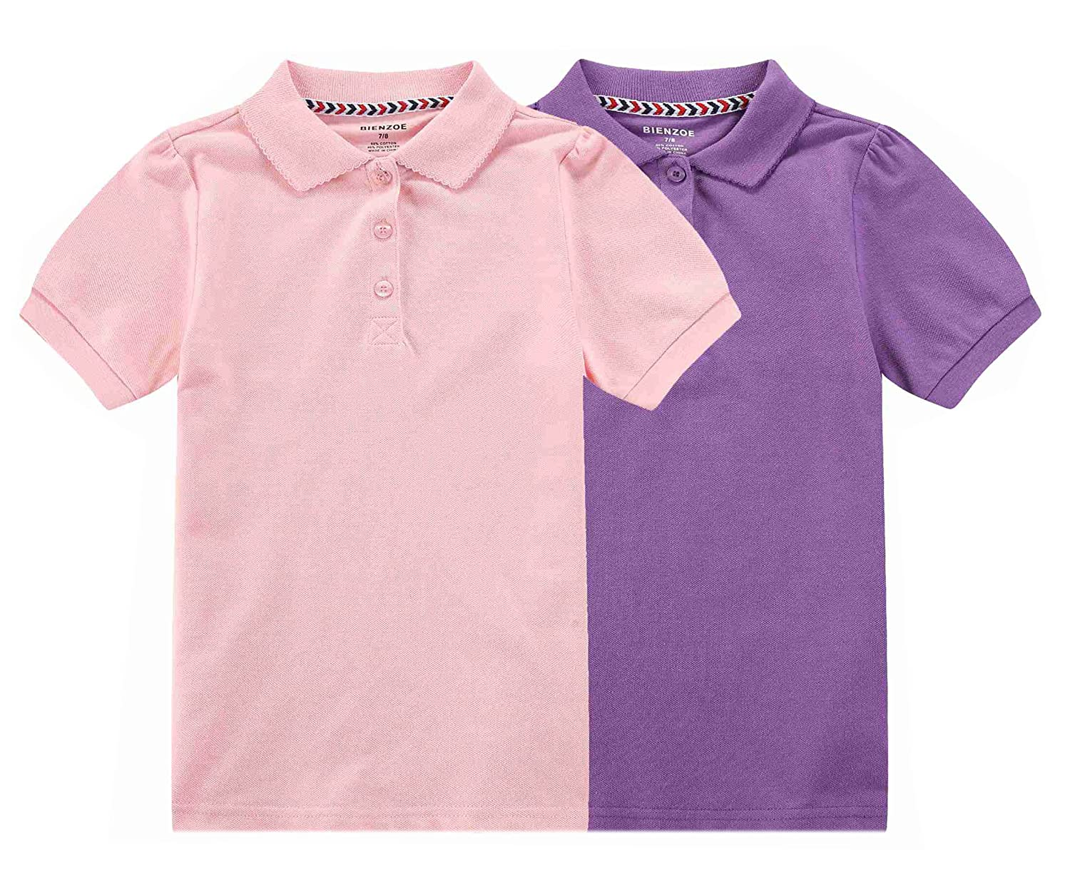 Bienzoe Girl's Antimicrobial Breathable Short Sleeve Polo 2pcs Pack