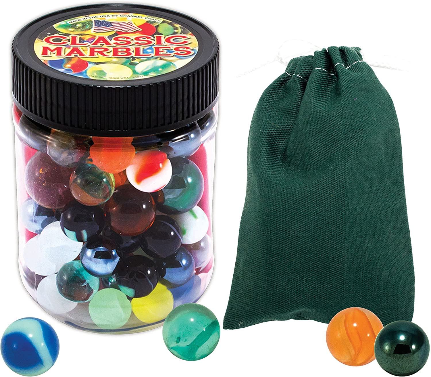 Color Canvas Pouch Toy Jar 48 Marbles with Shooters Marbles The Shooting Game
