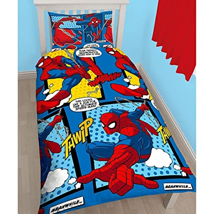 Copripiumino Spiderman.Amazon Com Spiderman Webhead Single Reversible Designs Duvet