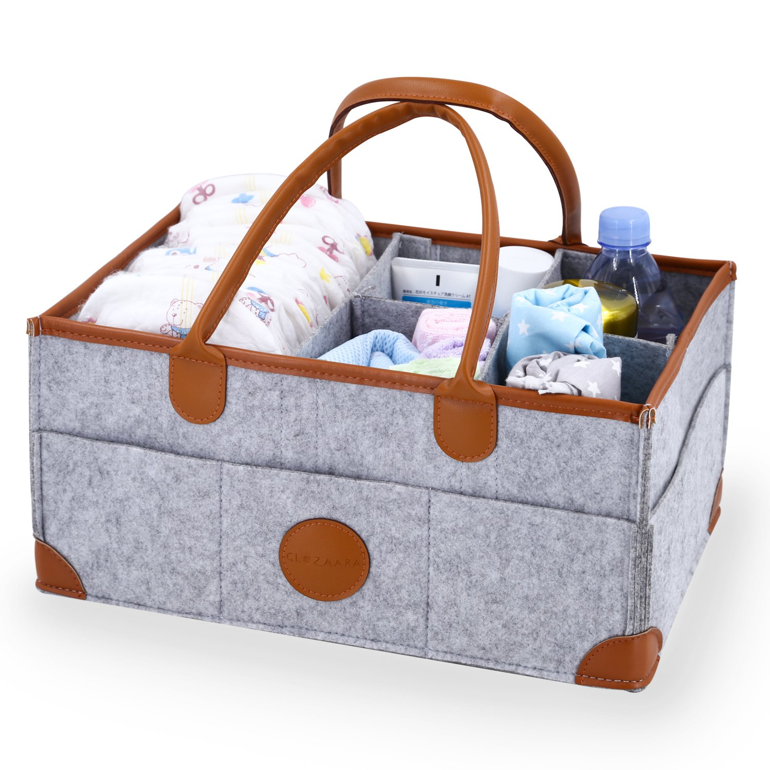 Baby Diaper Caddy Changing Table Organizer - Nursery Storage Bin - Baby Shower Gifts Basket for Boys Girls - Newborn Registry Must Haves - Portable Car Organizer