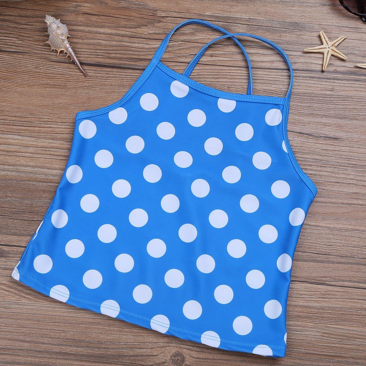 Agoky Big Girls Two Pieces Polka Dots Swimsuits Spaghetti Straps Beachball Tankini Set