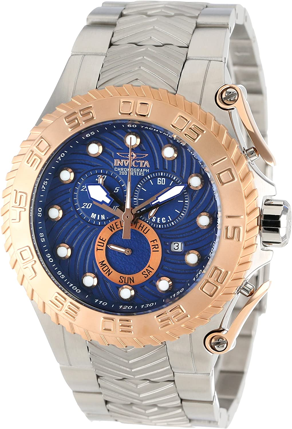 Invicta Men s 12939 Pro Diver Chronograph Blue Textured Dial Stainless Steel Watch
