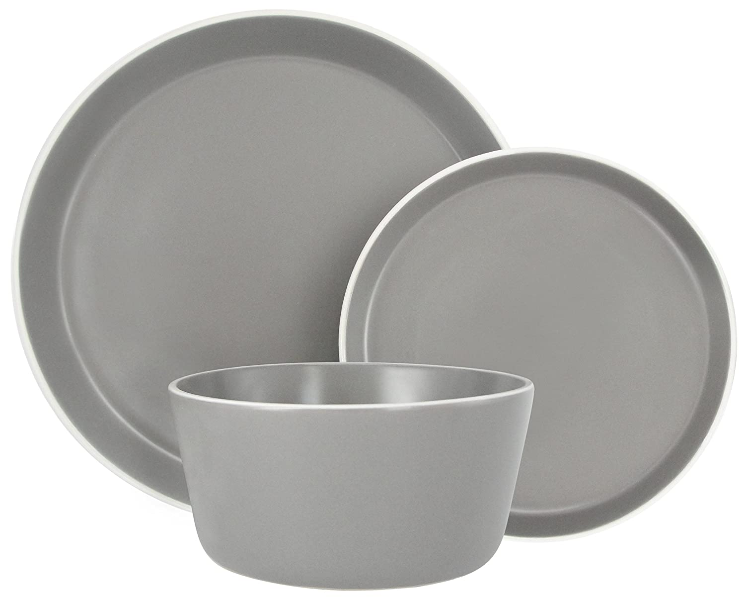Melange Stoneware 18-Piece Dinnerware Set (Moderno Grey) | Service for 6| Microwave, Dishwasher & Oven Safe | Dinner Plate, Salad Plate & Soup Bowl (6 Each)
