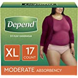 Depend FIT-FLEX Incontinence Underwear for Women, Disposable, Moderate Absorbency, XL, Blush, 68 Count (4 Packs of 17)
