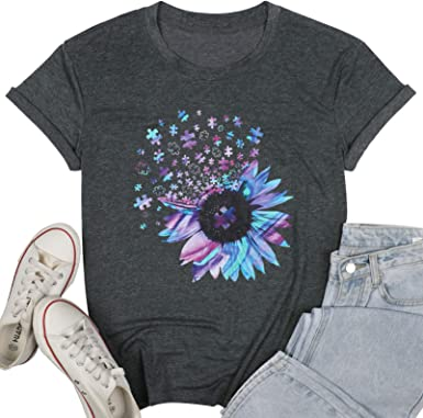 Floral Graphic Loose Tees Tops for Teen Girls AKWIOS Womens Casual Summer Sunflower Print Short Sleeve T-Shirt
