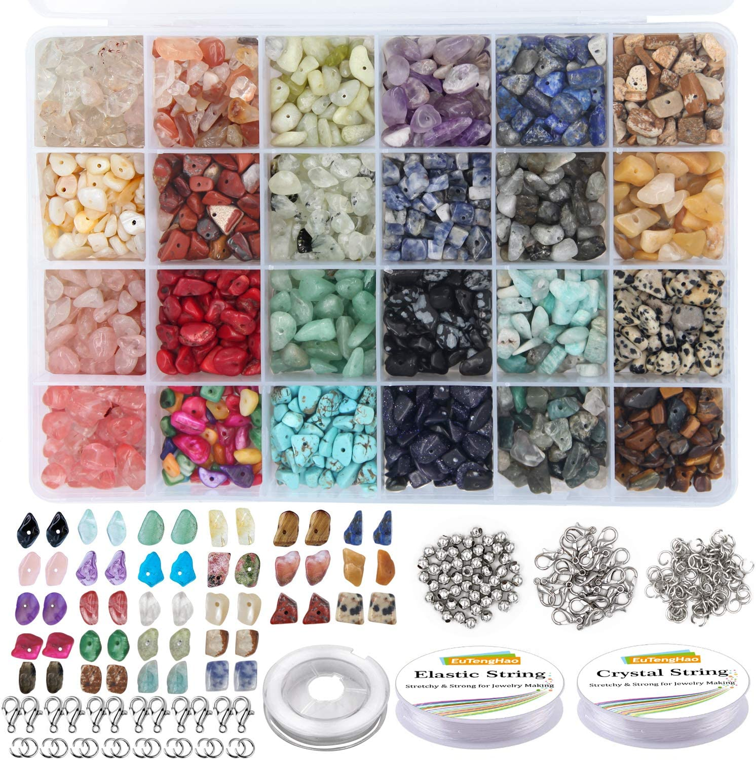1620Pcs 18color Irregular Crystal Chip Beads GACUYI Jewelry Making Natural Gemstones Kit with Seed Bead Spacers and Jewelry Making Findings and Tools for Earring Necklace and Bracelets Making Supply