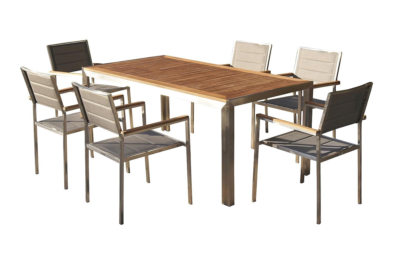 OUTFLEXX Sitzgruppe, Silber, Edelstahl/Teak, Esstisch 180x90cm, 6 Stapelstühle gepolstert