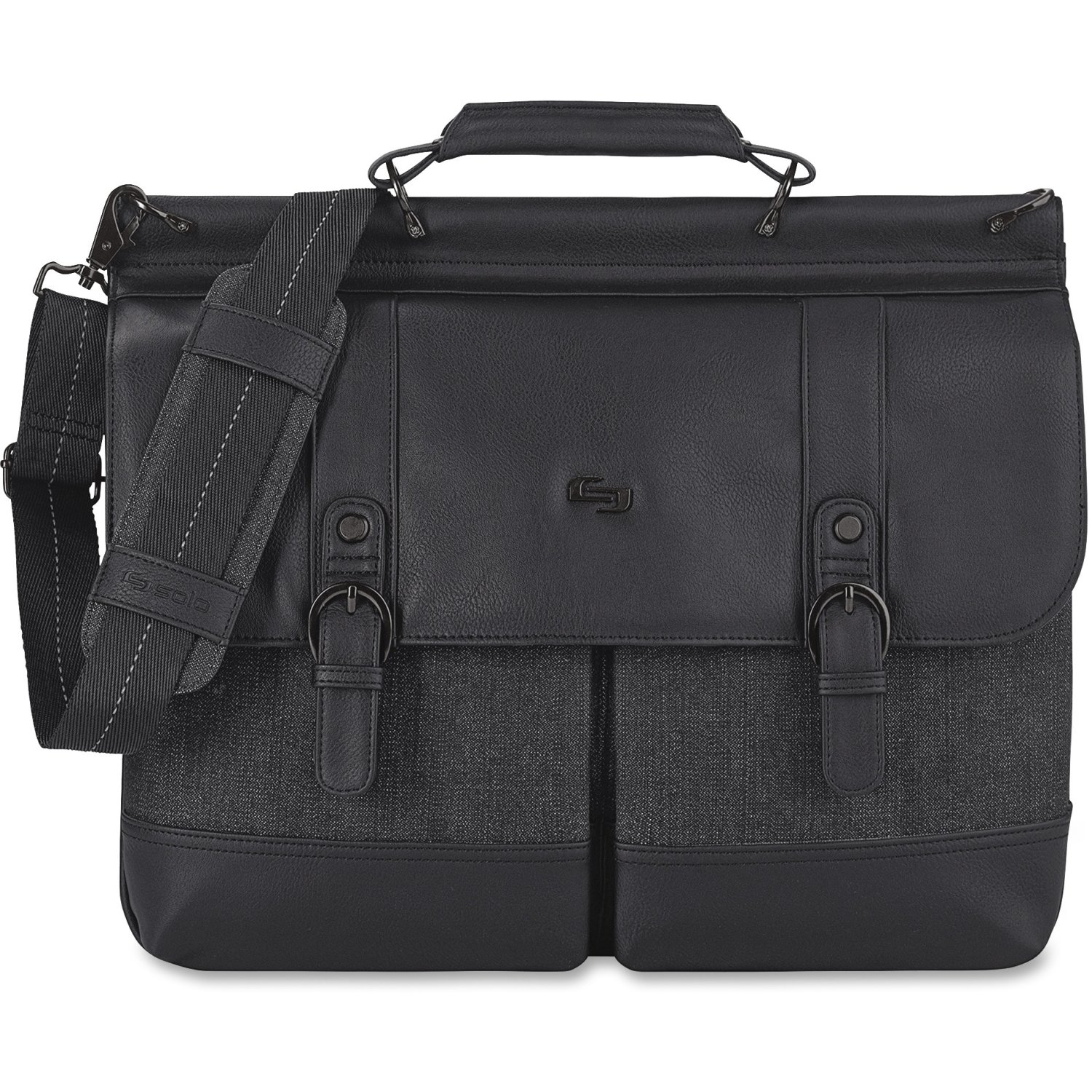 Solo Thompson 15.6 Inch Briefcase with Padded Laptop Compartment, Black/Grey