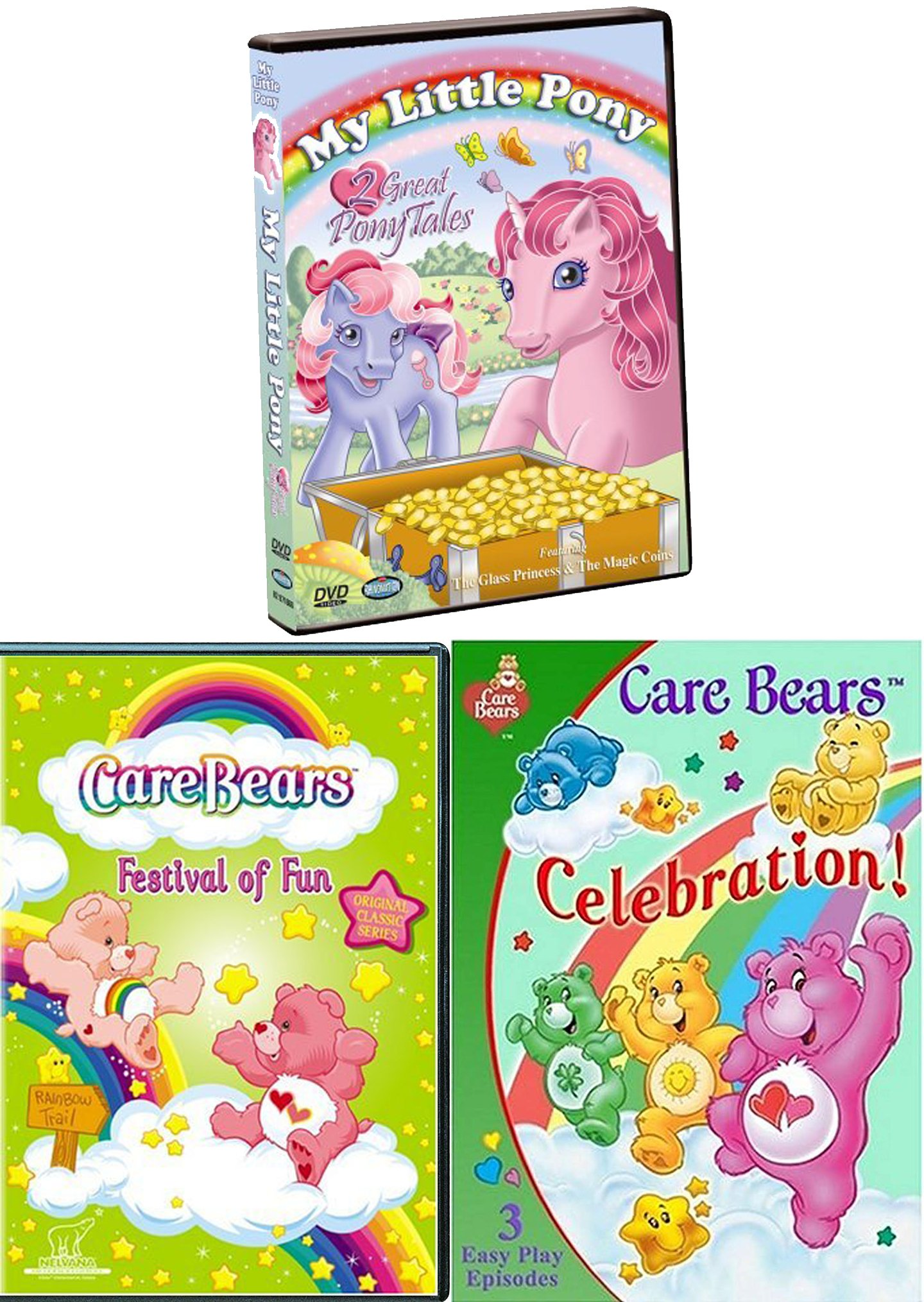 Ponies & Bear Tales My Little Pony Glass Princess & Magic Coins + CareBears Festival of Fun TV Episodes Care Bears Celebration Triple Pack Laugh / Parade / Trains / Big top / Fair / Music Video
