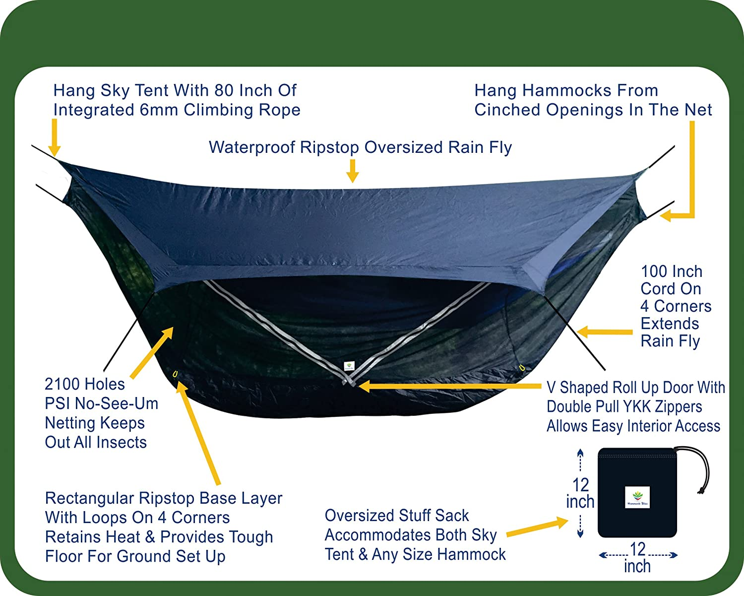 amazoncom hammock bliss sky tent 2 a 2 person hammock tent waterproof and bug proof hanging tent provides spacious and cozy shelter for
