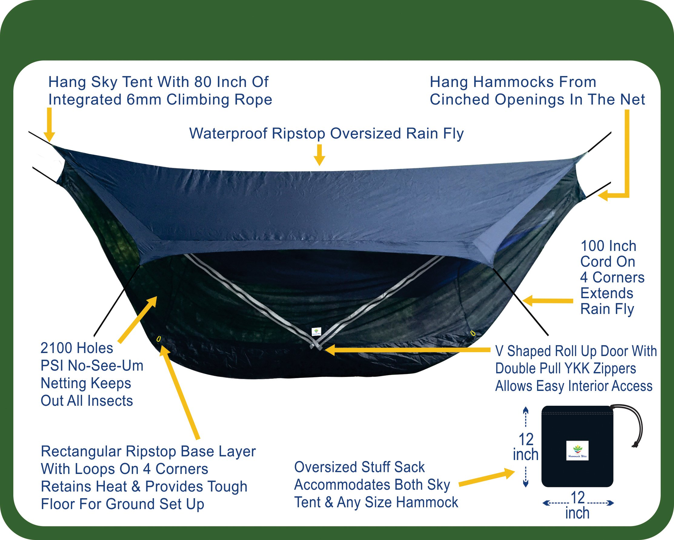 Hammock Bliss Sky Tent 2 - A Revolutionary 2 Person Hammock Tent - Waterproof and Bug Proof Hanging Tent Provides Spacious and Cozy Shelter For 2 Camping Hammocks - Embrace Hammock Camping Comfort by Hammock Bliss (Image #2)
