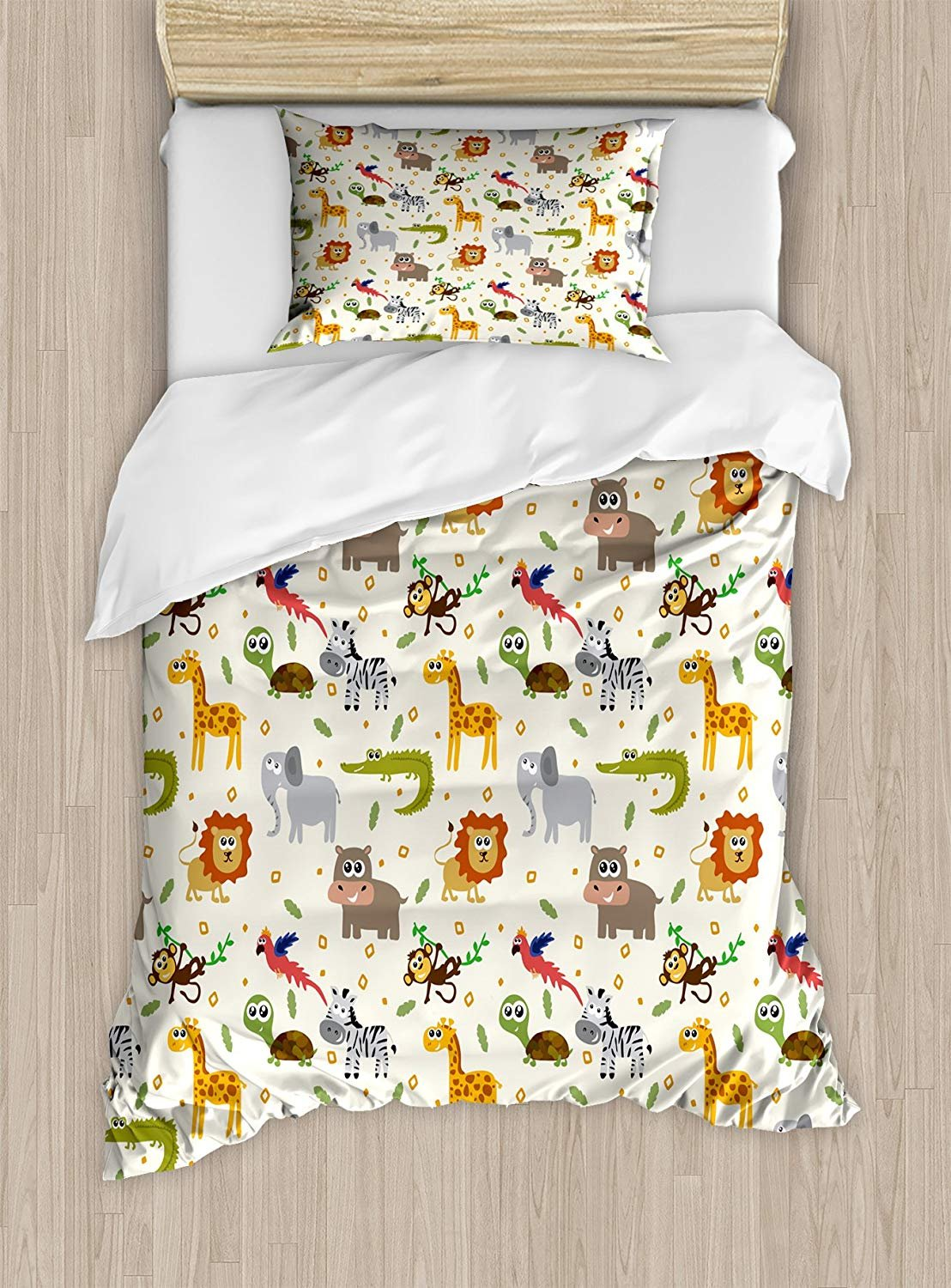 Cartoon Animal Duvet Cover Set,African Australian Childish Fauna Silly Faces Safari Lion Elephant Crocodile,Cosy House Collection 4 Piece Bedding Sets