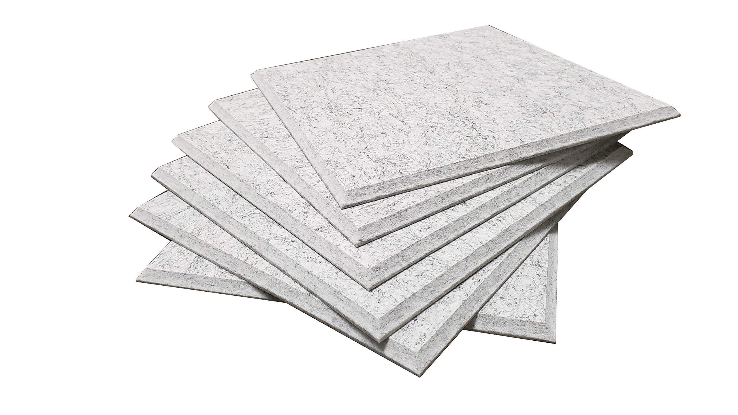 RHINO Acoustic Absorption Panel, Beveled Edge, 12'' X 12'' X 0.4'', Silver Gray Color, 6 Pcs per Pack