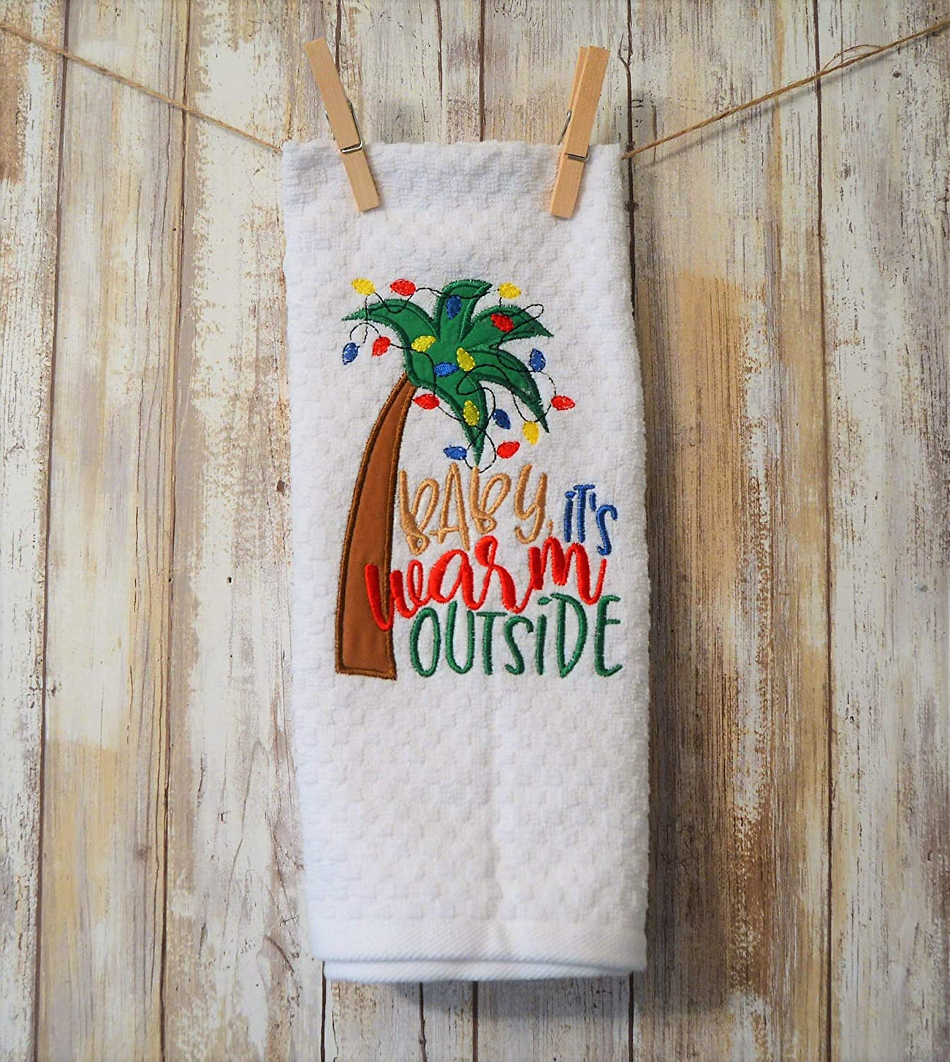 Embroidered Palm Tree Kitchen Towel Baby it\'s warm outside
