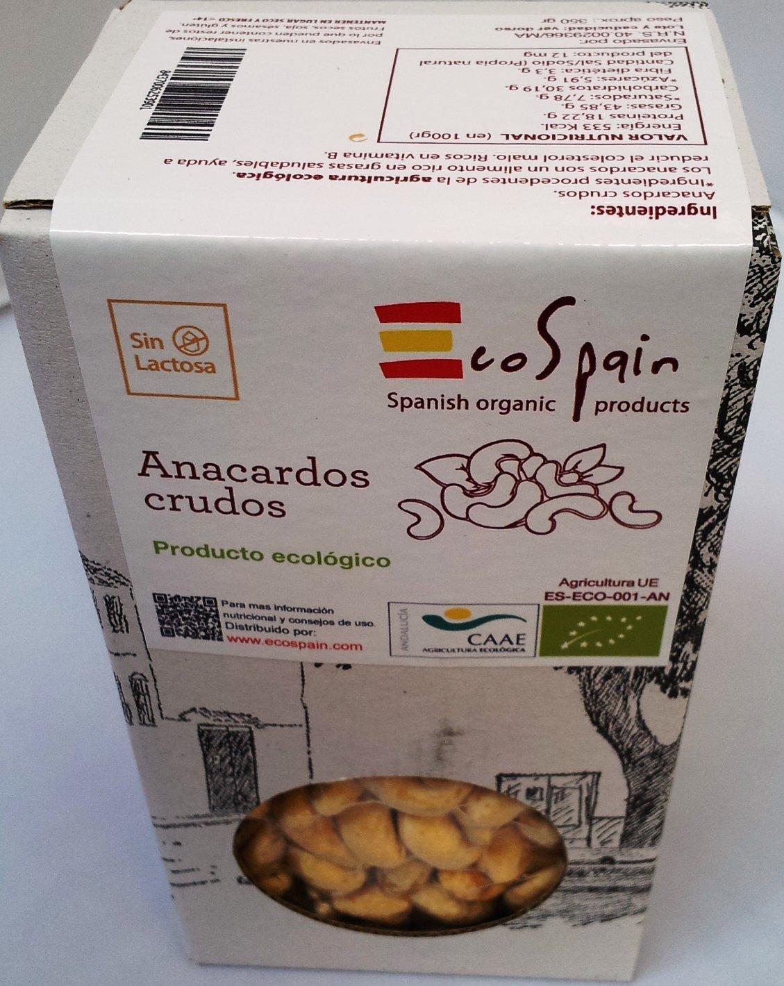 EcoSpain Anacardos Ecológicos Crudos - 350 gr