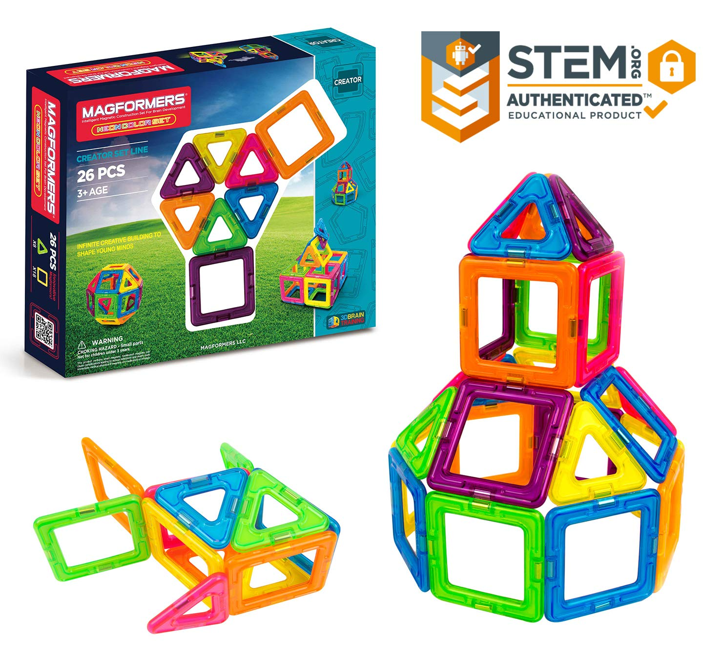 Magformers Neon 26 Pieces Rainbow neon Colors, Educational Magnetic Geometric Shapes Tiles Building STEM Toy Set Ages 3+