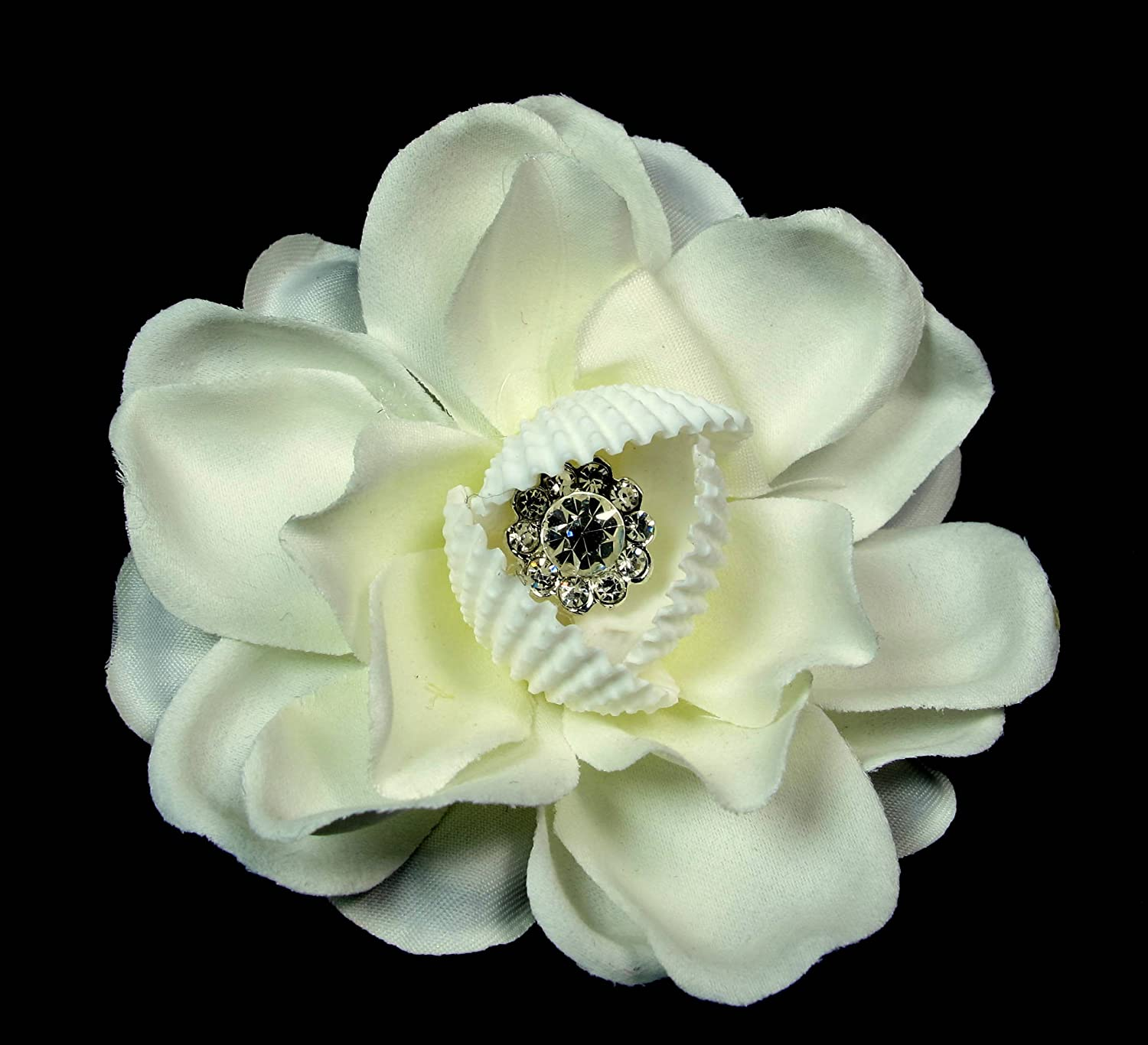 Amazon Ivory White Hair Flower With Seashells And Crystal Beauty