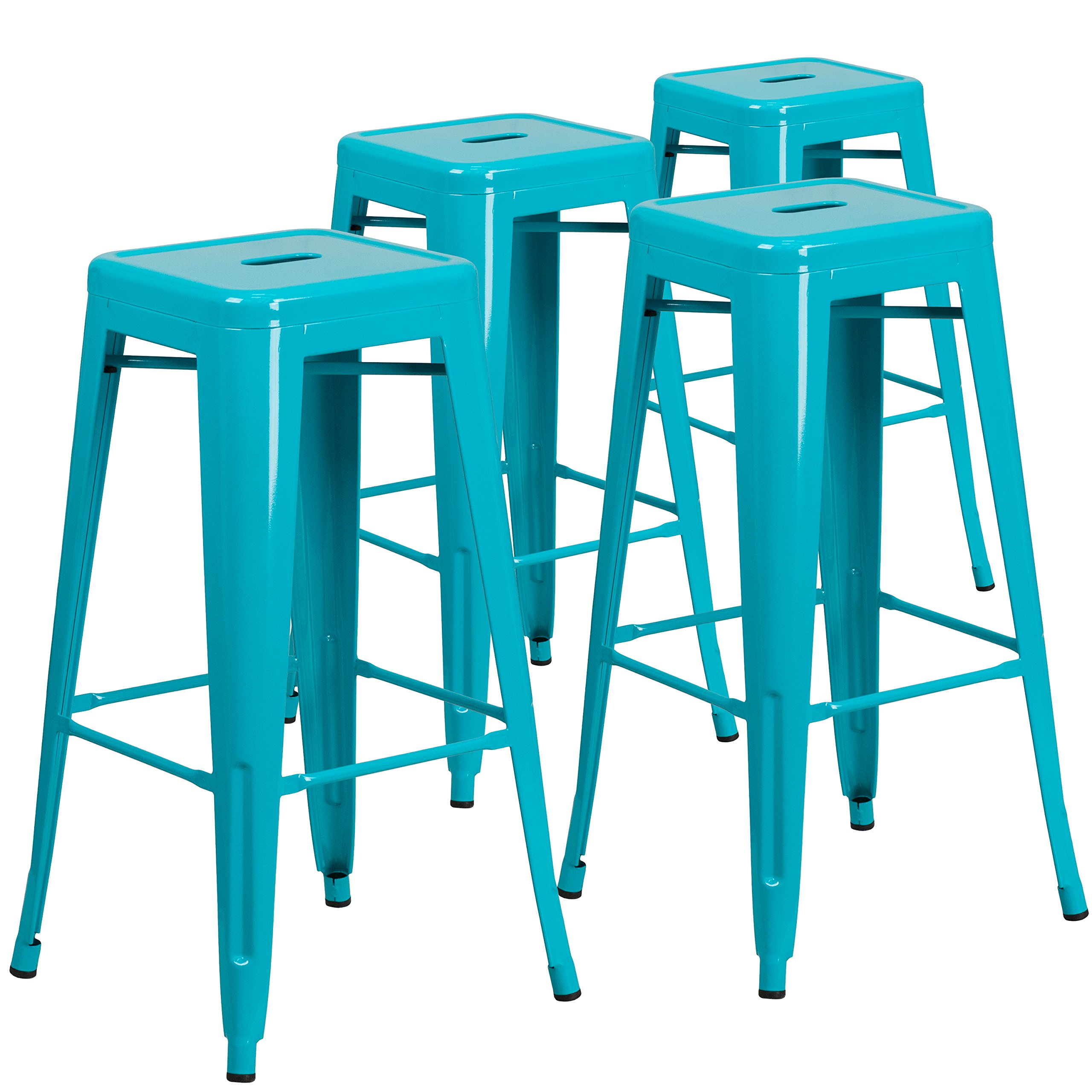 Flash Furniture Backless Crystal Blue Indoor-Outdoor Barstool, 30'' (Pack of 4)