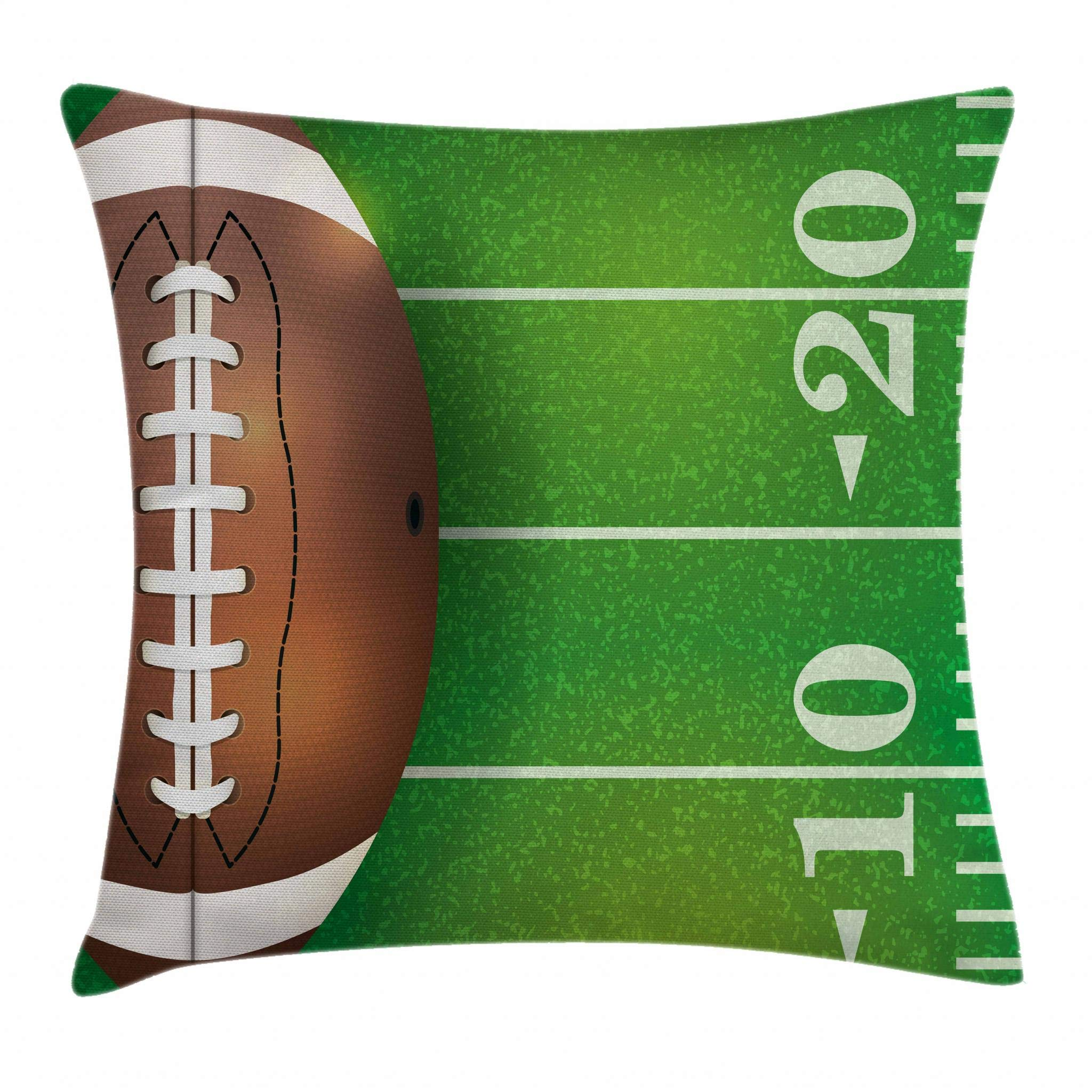 Lunarable Boy's Room Throw Pillow Cushion Cover, American Football Field and Ball Realistic Vivid Illustration College, Decorative Square Accent Pillow Case, 16 X 16 Inches, Green Brown White
