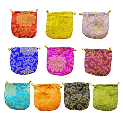 5a4177a2afc5 Amazon.com: 10pcs Chinese Silk Brocade Jewelry Pouch Bag Gift Bag ...