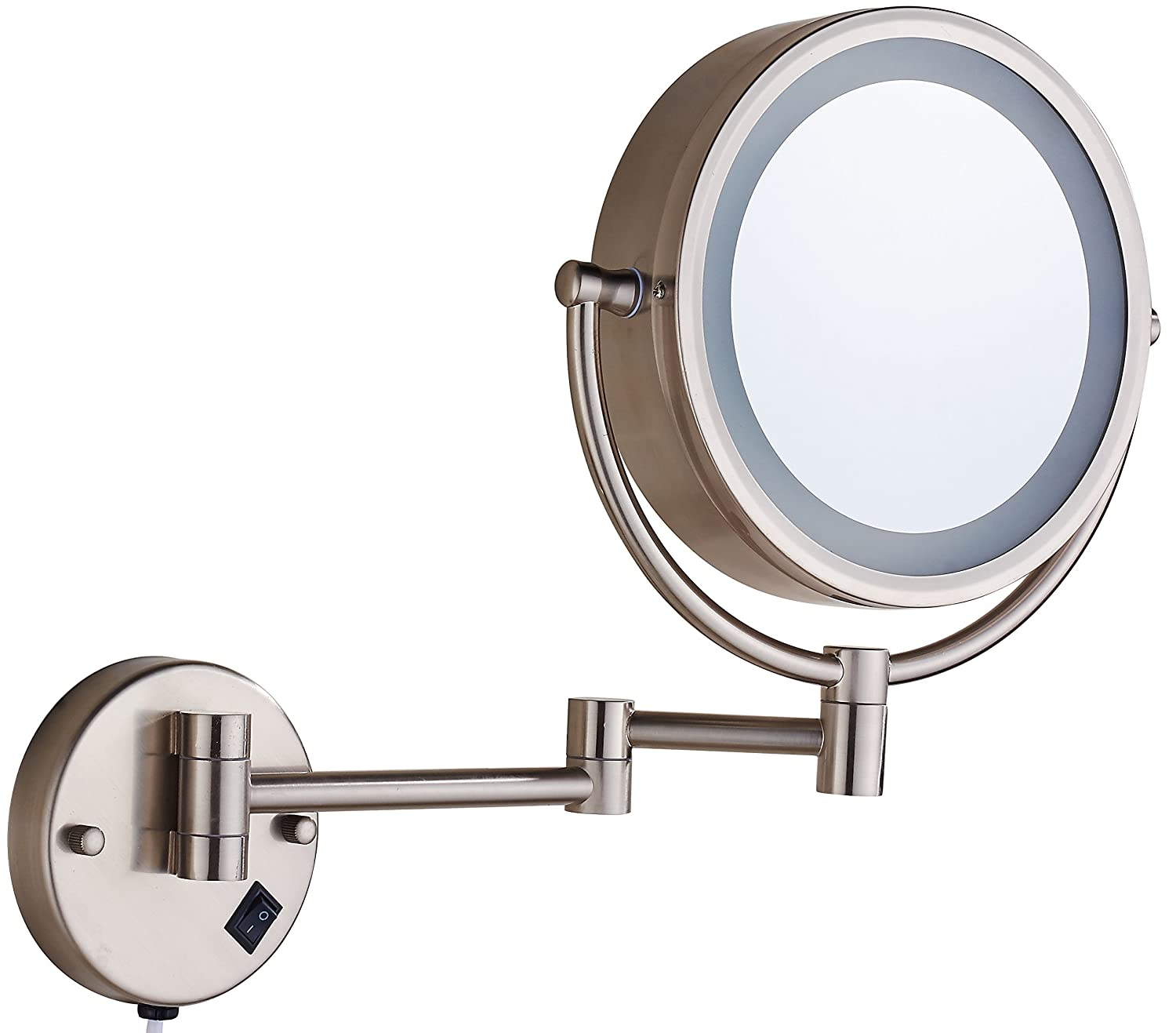 Cavoli Makeup Mirror Wall Mounted with LED Lighted 7x Magnification Double Sided, Nickel Finish, (8.5-inch,7x)