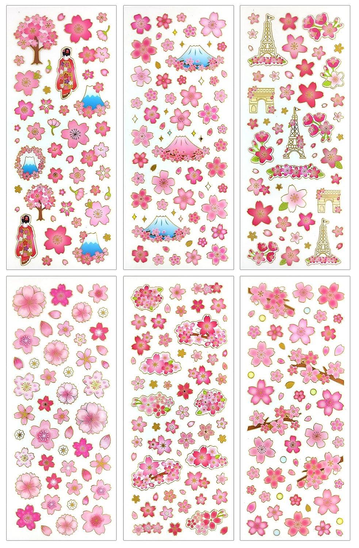 Cl007 sakura clear gold metallic foil sticker 6 different sheets decorative craft scrapbooking stickers set with beautiful sakura fuji mountain japan