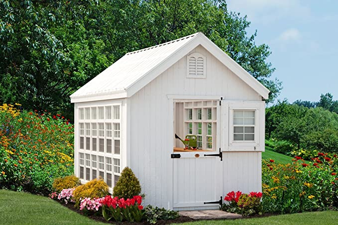 Little Cottage Company 10x16-LCG-WPNK Colonial Gable Greenhouse 10 x 16 Primed Tan