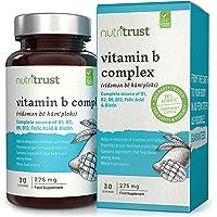 Vitamine complesse 275 mg compresse di Nutritrust® -250% più vitamine B rispetto ad altre principali Marche - Formula ad alta potenza da fonti intere di cibo - Niacina, tiamina, riboflavina e Di Più