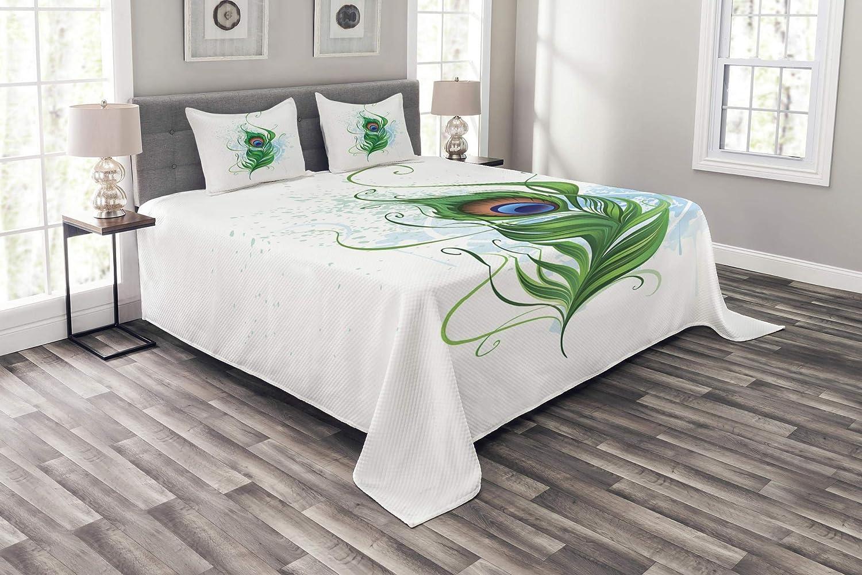 Lunarable 孔雀 ベッドスプレッド 染色された鳥の羽 水彩画の背景 抽象的な自然タトゥースタイル 装飾キルトカバーセット 枕カバー付き ピーチグリーン ブルー キング bed_52387_king B07HM6Z476 マルチ1 キング