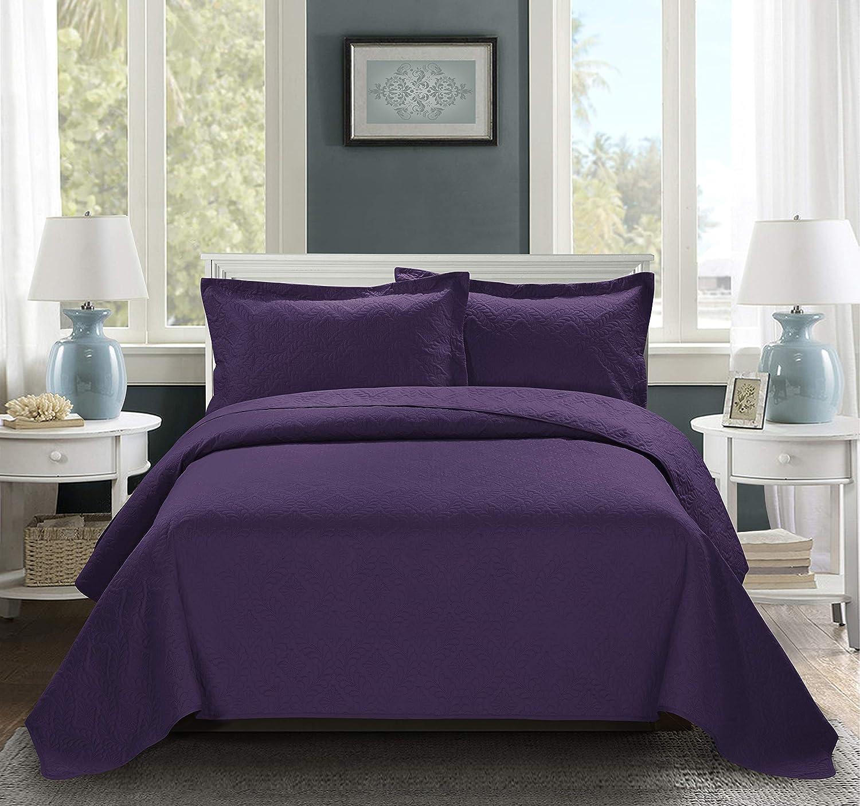 King, Purple BEDnLINENS 3 Piece ESTANCIA Ultrasonic Embossed Bedspread Set-Oversized Coverlet 100x106in 118x106in