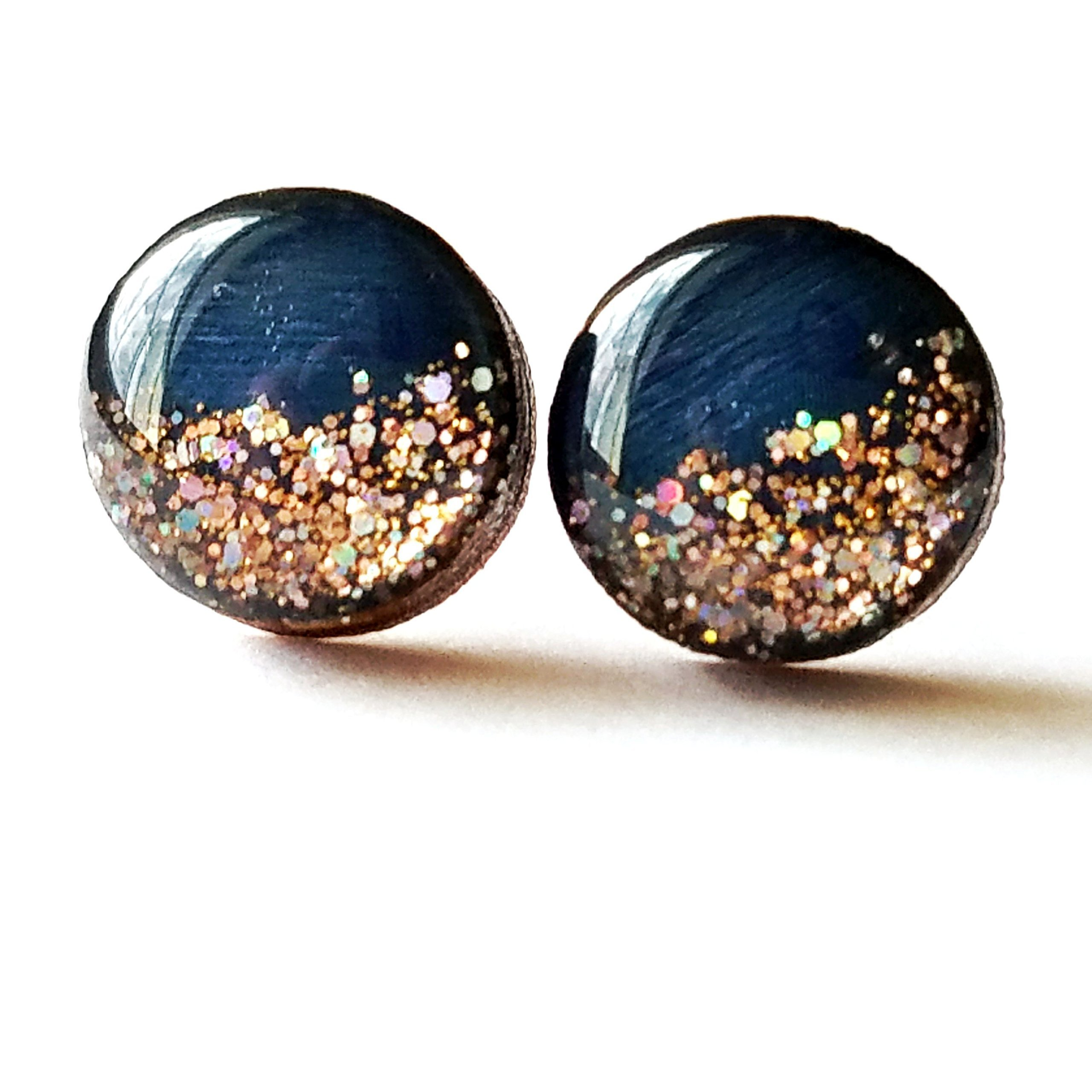Hand painted navy blue with rose gold glitter wood stud earrings 10mm