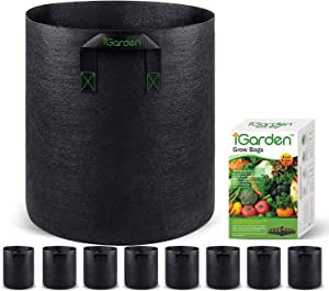 Grow Bags, 5 Gallon Grow Smart Pots 8 Pack with Handles, Heavy Duty 280G Thickened Nonwoven Fabric Plant Bag for Vegetables