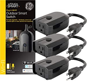 myTouchSmart GE WiFi Smart Light Switch Outdoor Plug-In 3-pack, Works with Alexa, Google Assistant, Weather-Resistant, Preset/Custom Programs, 54420 No Hub Needed, Black