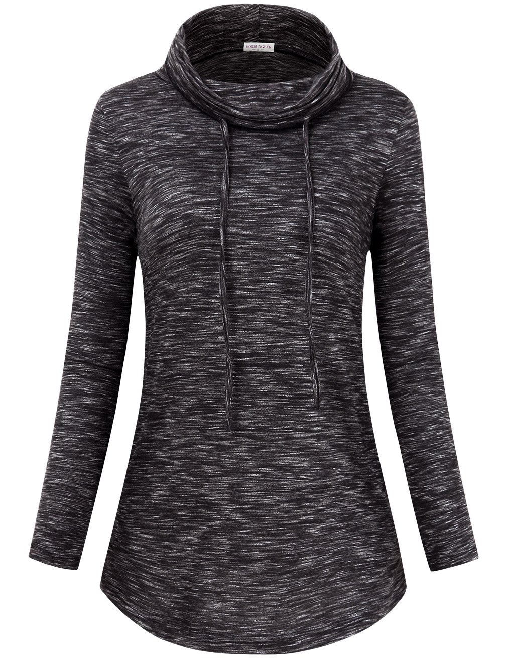 Faddare Activewear Long Sleeve Tops for Women,Cowl Neck Shirt,Black White XL by Faddare (Image #1)