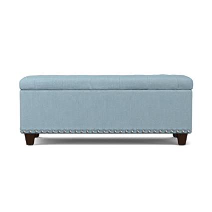 Handy Living Tufted Wall Hugger Bench Storage Ottoman, Sky Blue