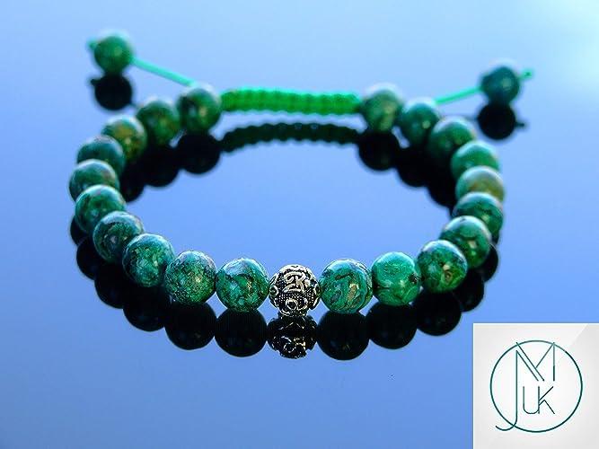 Azurite Om Sterling Silver Natural Gemstone Bracelet 6-9/'/' Macrame Healing Stone