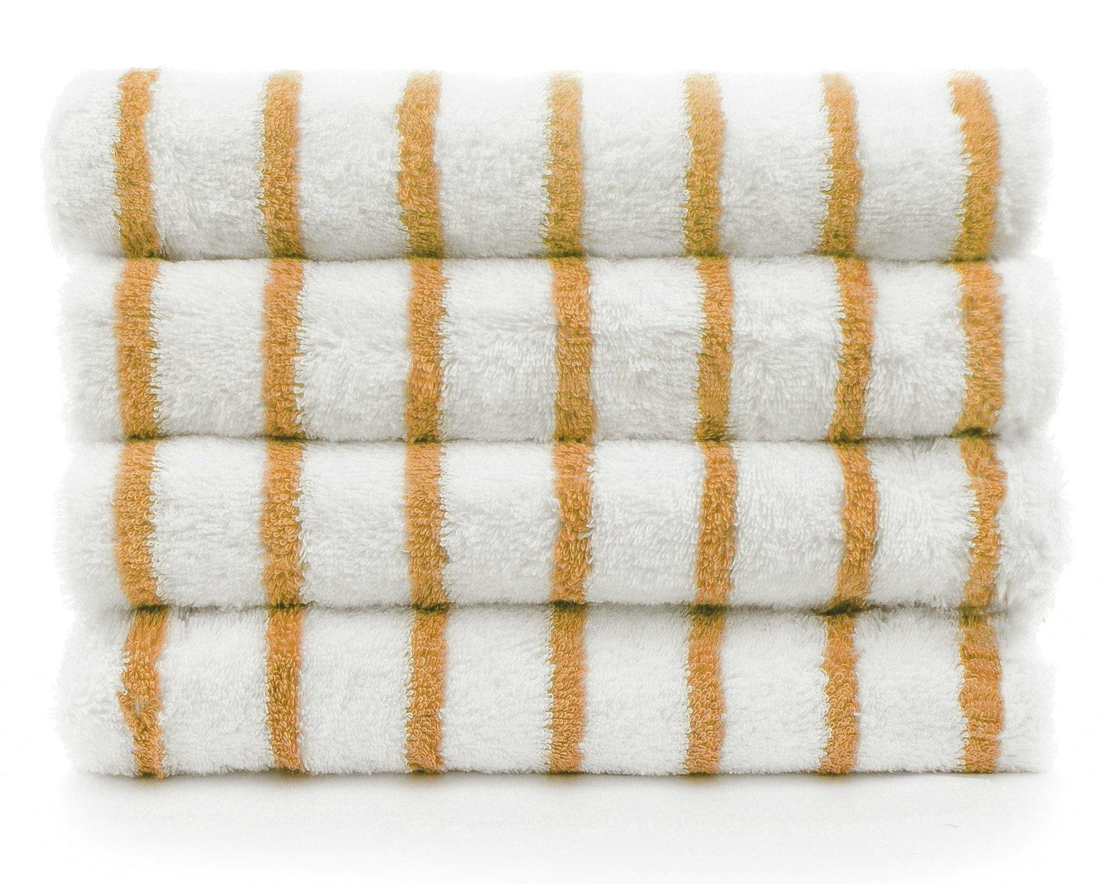 INDULGE Large Beach and Pool Towel, Thin Stripe, 100% Turkish Cotton (30x60 inches) (4, Salmon - Thin Stripes)