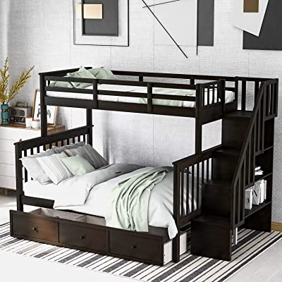 Buy Meritline Twin Over Full Bunk Bed For Kids Wood Bunk Twin Over Full Size Bed Frame With Storage Drawers And Shelves No Box Spring Needed Online In Germany B08rbvq3md