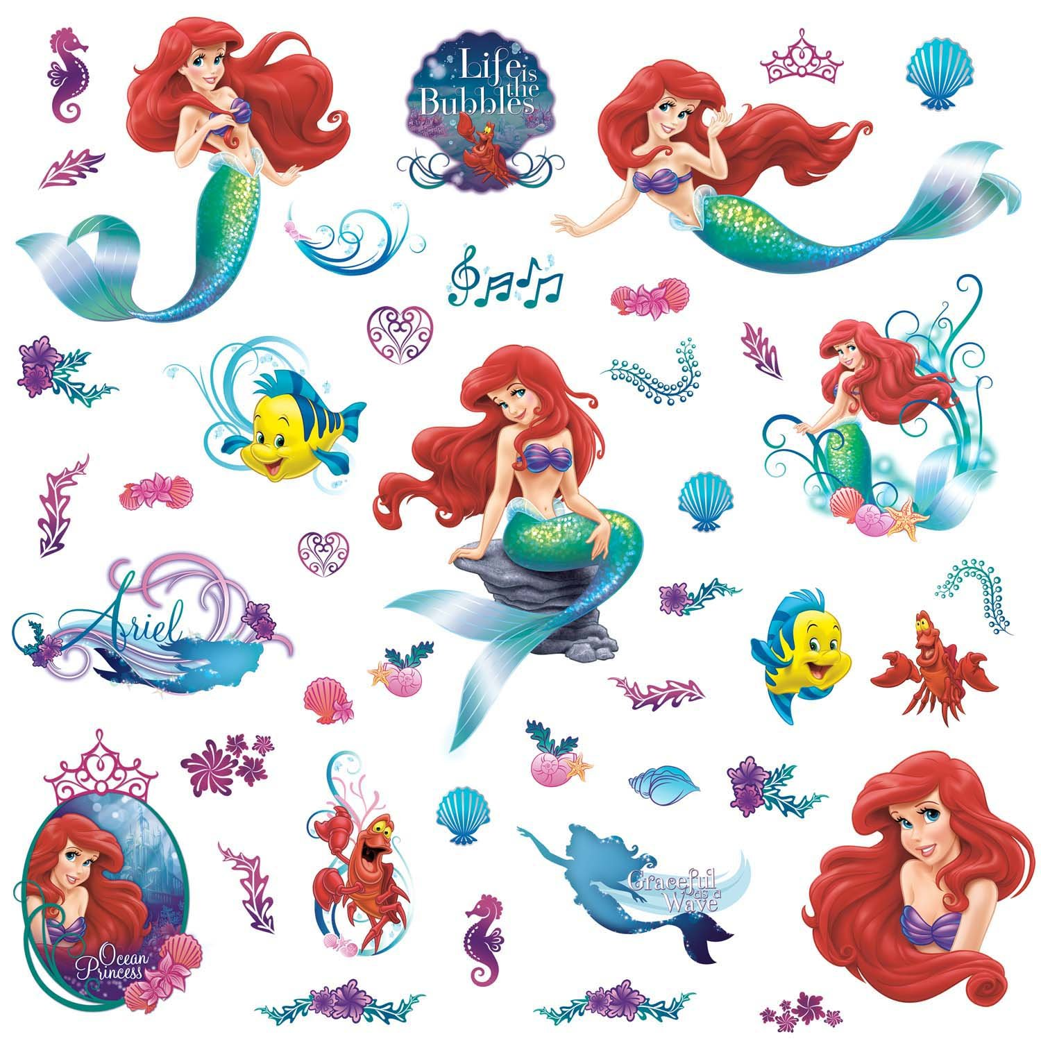 Amazon.com: RoomMates RMK2347SCS The Little Mermaid Peel And Stick Wall  Decals, 1 Pack: Home Improvement Pictures Gallery