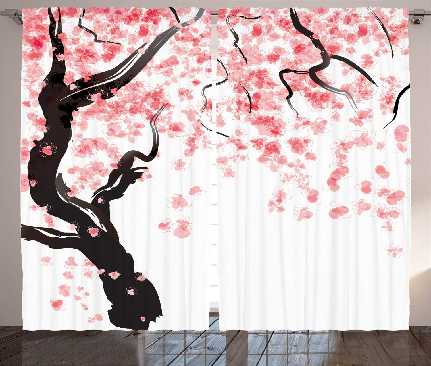 """Ambesonne Floral Curtains, Dogwood Tree Blossom in Watercolor Painting Effect Spring Season Theme Pinkish Tones, Living Room Bedroom Window Drapes 2 Panel Set, 108"""" X 90"""", Black Pink"""