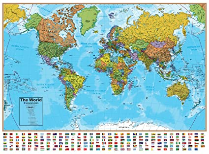 Amazon hemisphere world wall map with flags 51 w x 38 h hemisphere world wall map with flags 51quot w x 38quot h up gumiabroncs Images