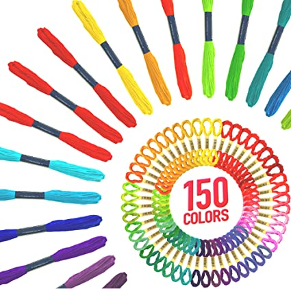 Caydo 200 Skeins Embroidery Floss Rainbow Color Friendship Bracelets Floss with 31 Pieces Embroidery Tool Kits