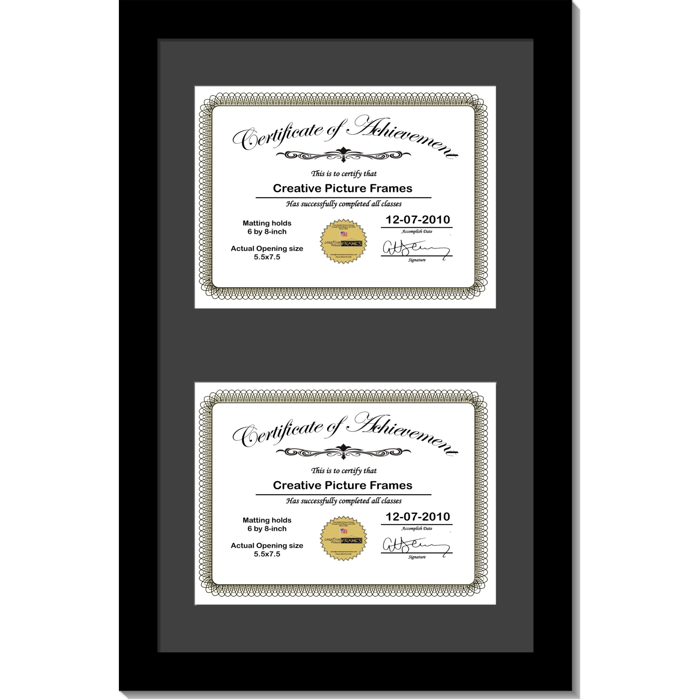 CreativePF [10x16bk-b] Black Vertical Double Diploma Frame with 2 Opening Black Matting | Holds 2-6x8-inch Documents with Installed Wall Hanger