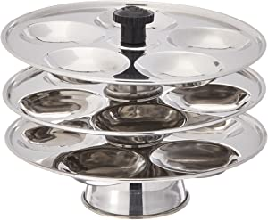 Tabakh 3-Rack Stainless Steel Baby Mini Idli Stand, Makes 15 Mini Idlys